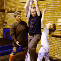April, Chris and S on silks