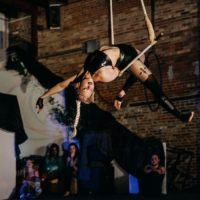 Sandra performing on trapeze