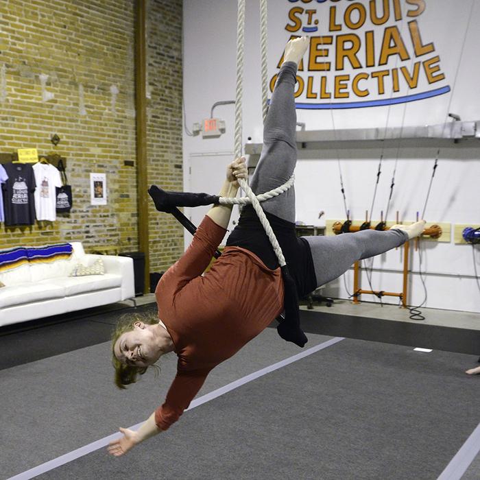 Lisa on a dance trapeze