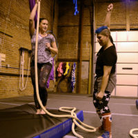 April and Brittany doing rope